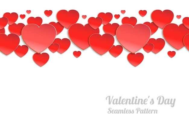 Valentines day seamless horizontal pattern. red paper hearts on a white background Free Vector