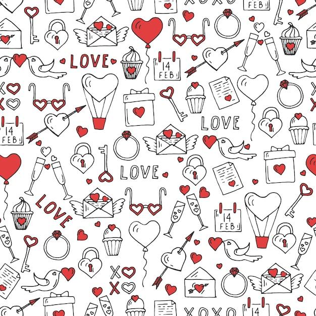 Valentines day seamless pattern with hand drawn love symbols. Premium Vector