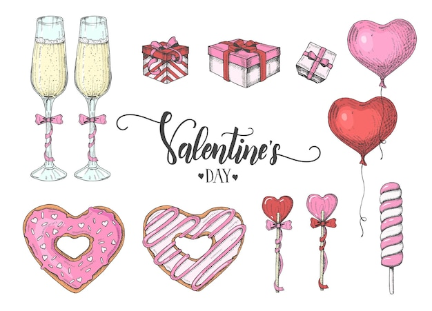Valentines day set with colorful hand drawn objects in sketch style-lollipop, glazed donut, glass of champagne, gift boxes,ballons.happy valentines day -lettering Premium Vector