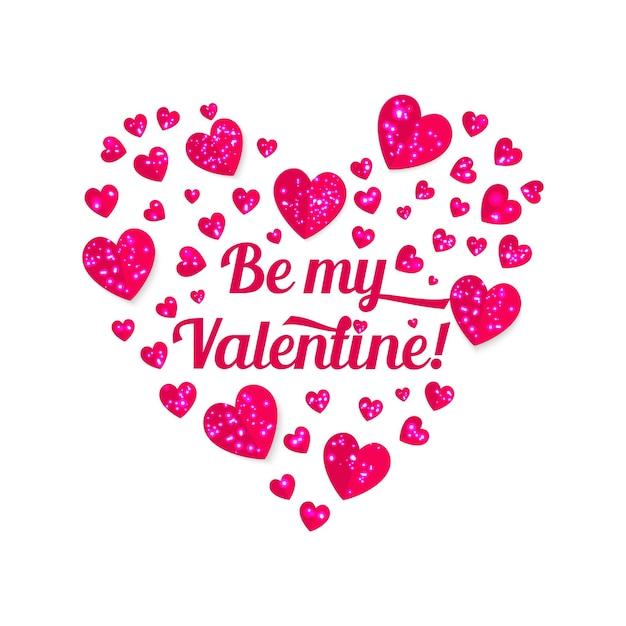 バレンタインデーの光沢のあるハートとレタリング Premiumベクター