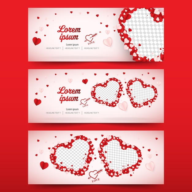 Valentines day social media banner cover vector template Premium Vector