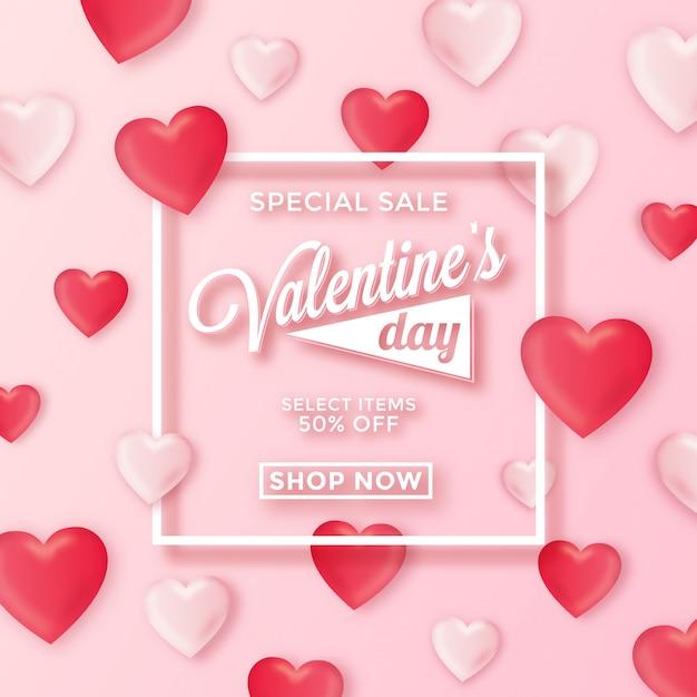 Valentines day special sale background Premium Vector