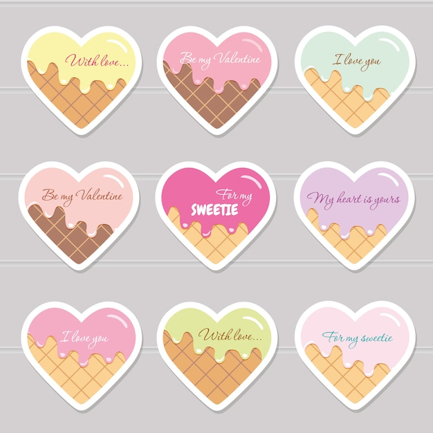 Valentines day stickers. cartoon hearts. Premium Vector