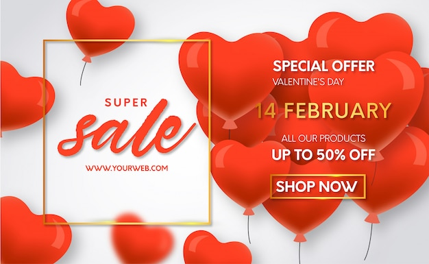 Valentines day super sale with balloons Free Vector