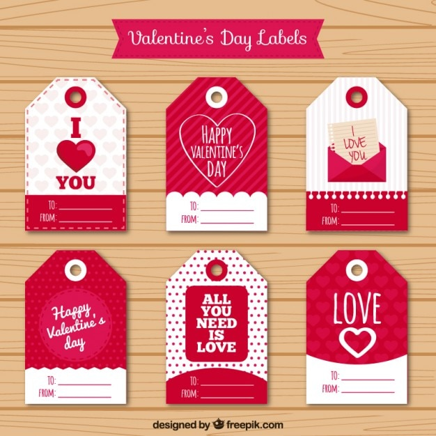 valentines day tags pack vector free download