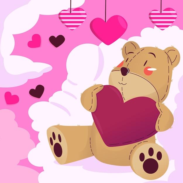 Valentines day teddy bear illustration Premium Vector