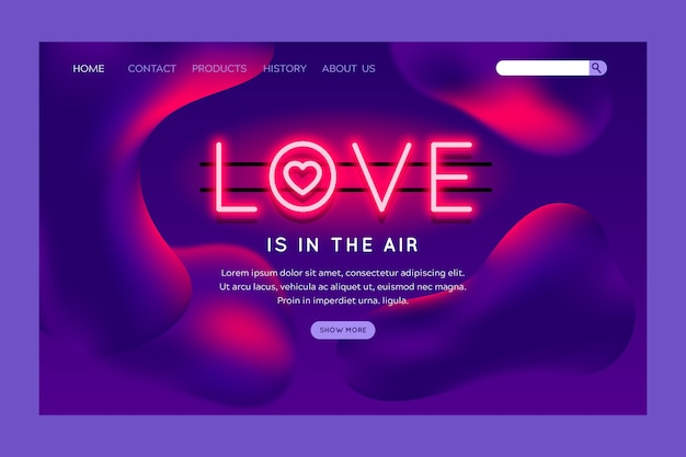 Valentines day theme for landing page Free Vector