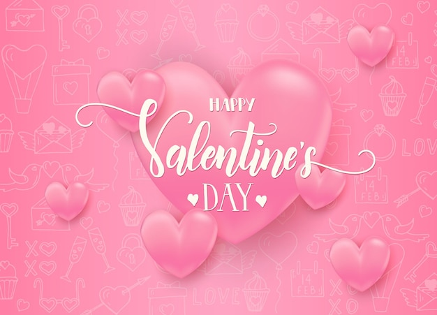 Valentines day with 3d pink hearts with hand drawn love line art symbols.  happy valentines day Premium Vector