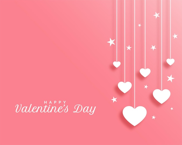 Valentines day with hanging hearts design Free Vector