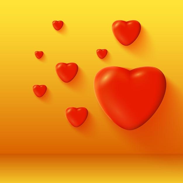 День святого валентина с романтическими 3d ярко-красными сердцами, изолированных векторная иллюстрация Бесплатные векторы