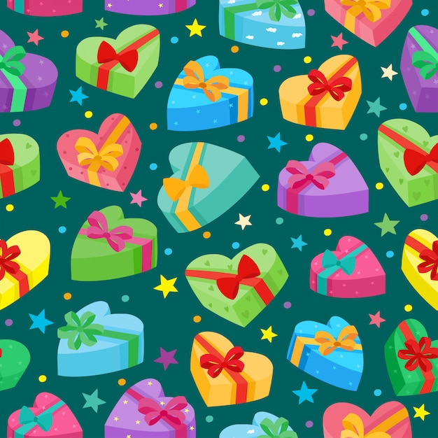 Valentines days presents collection. vector seamless pattern of cartoon gifts Premium Vector