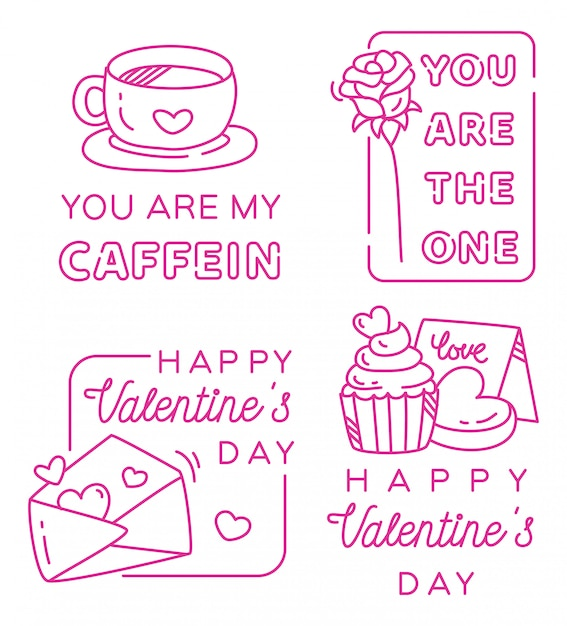 Valentines greeting badge in line style Premium Vector