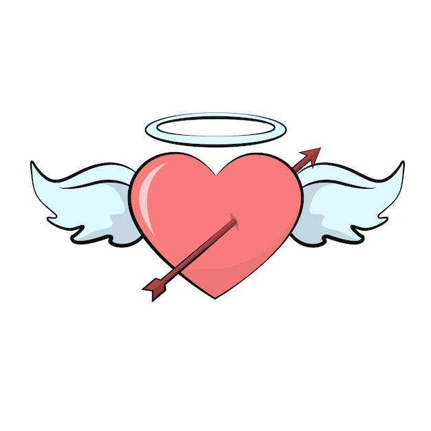 Valentines heart card with arrow wings Premium Vector