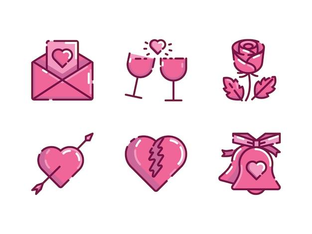 Valentines icon set Premium Vector