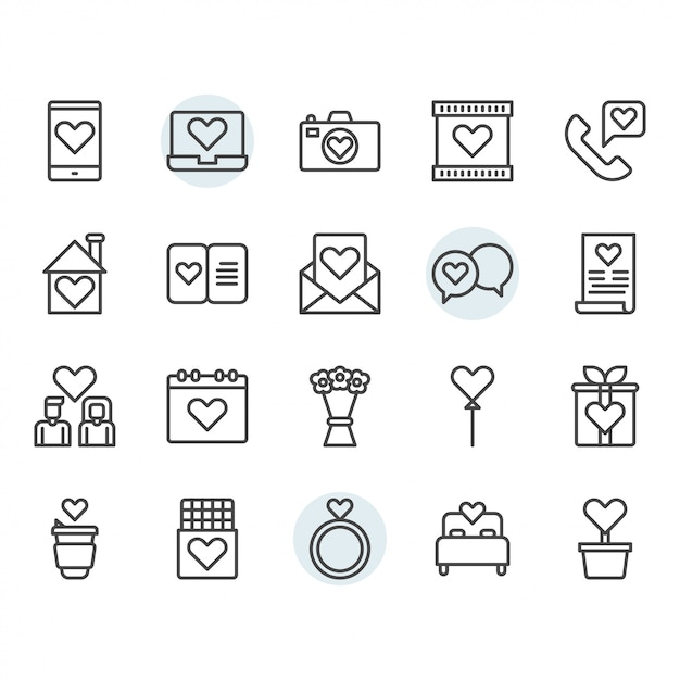 Valentines and love icon and symbol set in outline Premium Vector