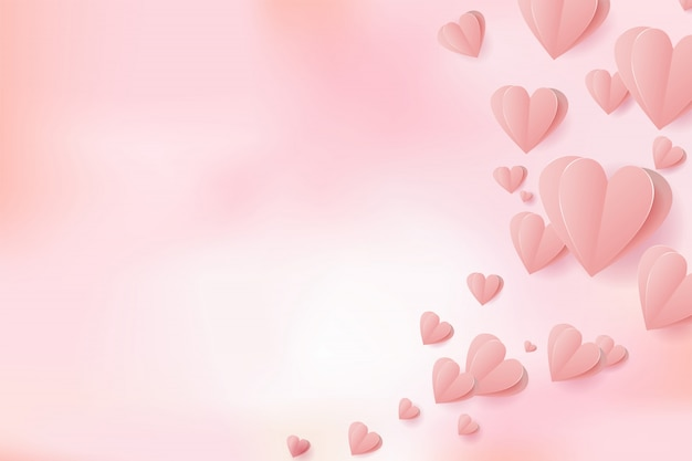 premium vector  valentines paper cut hearts flying