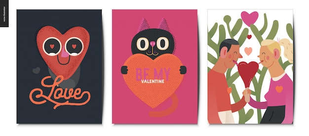 Valentines postcards set Premium Vector