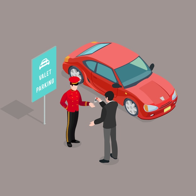 Valet parking service composition Free Vector
