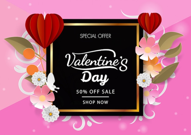 Valetine's day discount with red heart balloon and flower Premium Vector