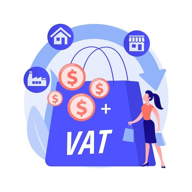 付加価値税システムの抽象的な概念のベクトル図です。 vat番号の検証、グローバルな課税管理、消費税システム、付加価値、小売商品の総購入コストの抽象的なメタファー。 無料ベクター