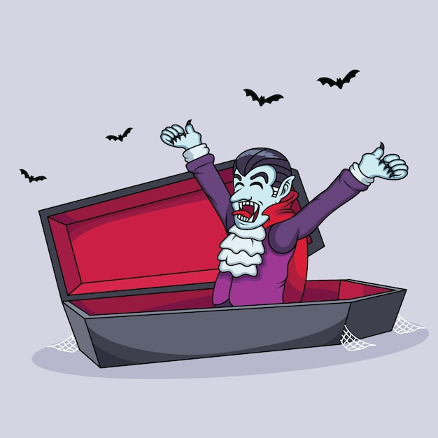 Vampire cartoons are waking up Premium Vector