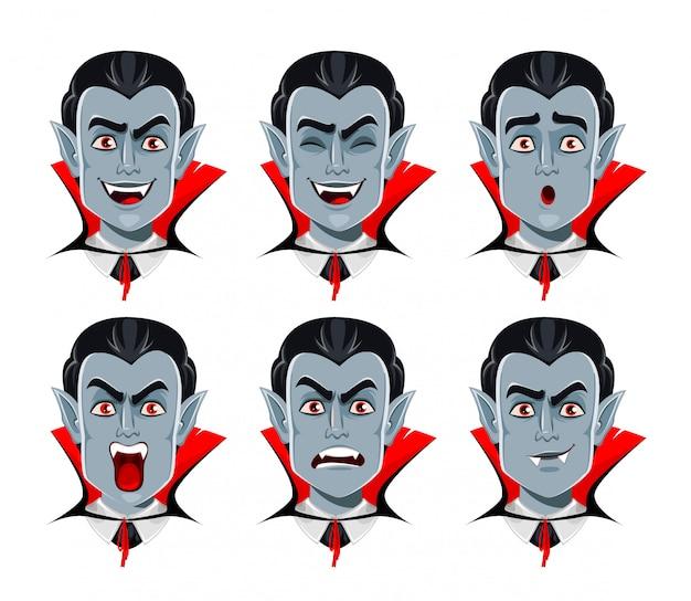 Vampire emotions, various facial expressions Premium Vector