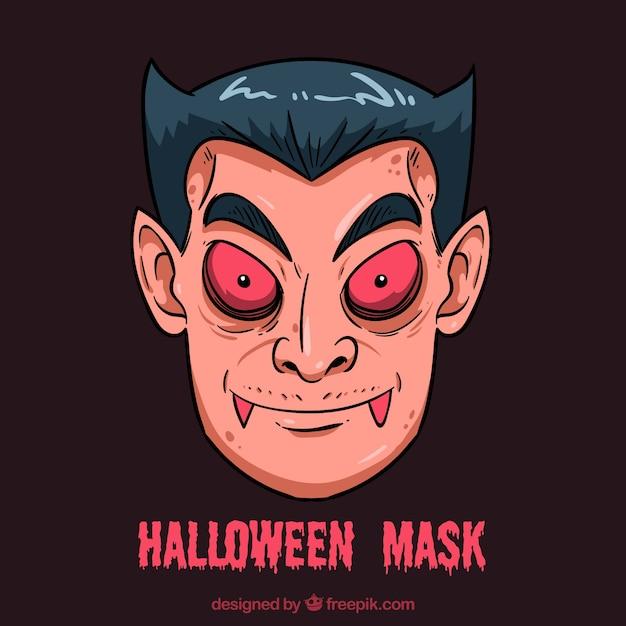 Maschera di halloween vampire Vettore gratuito