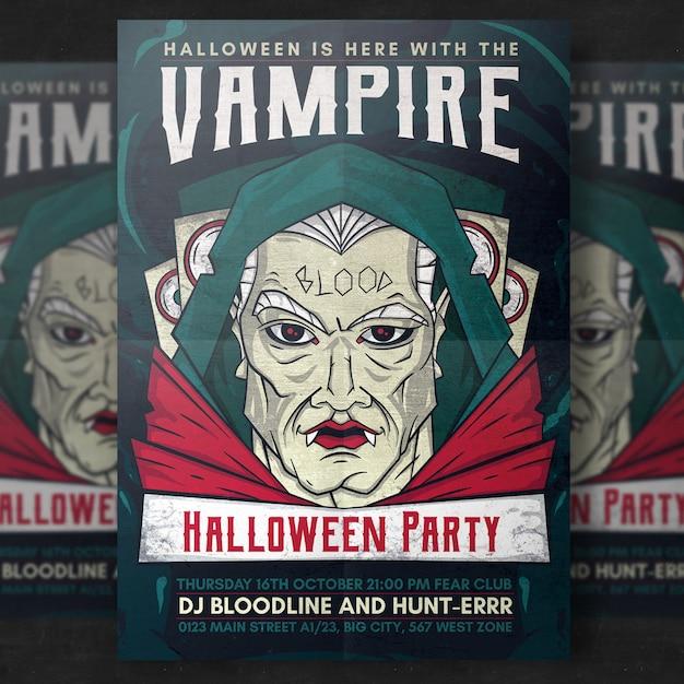 Vampire halloween party flyer template Free Vector