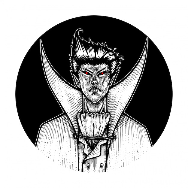 The vampire, hand drawn illustration Premium Vector