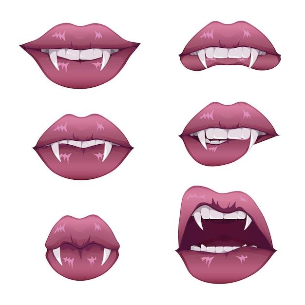 牙がセットされた吸血鬼の口。長い先のとがった犬歯と血まみれの唾液を伴う女性の閉じた赤い唇と開いた赤い唇。 Premiumベクター