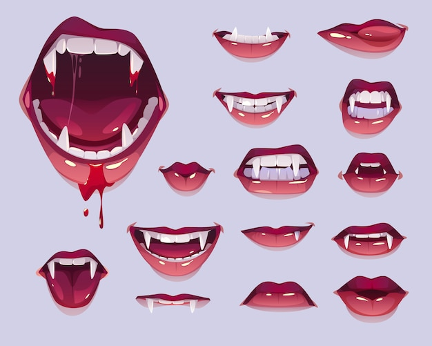 Vampire mouth with fangs set, female red lips Free Vector