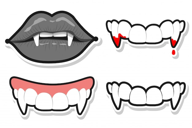 ハロウィンの吸血鬼の歯と唇。分離されたベクトル漫画セット Premiumベクター