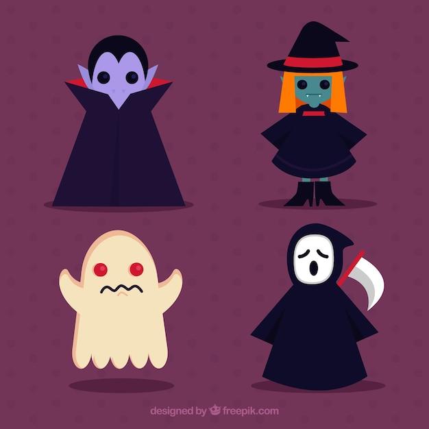 평평한 디자인의 뱀파이어, 마녀, 유령 및 죽음 무료 벡터
