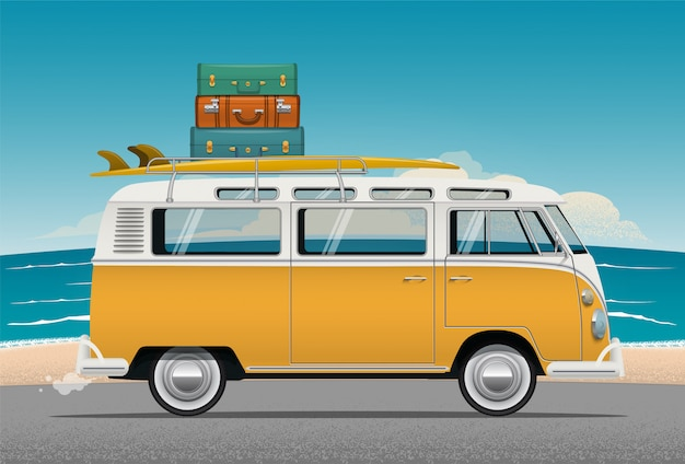 Van camper bus with surfboard and luggage on the roof Premium Vector