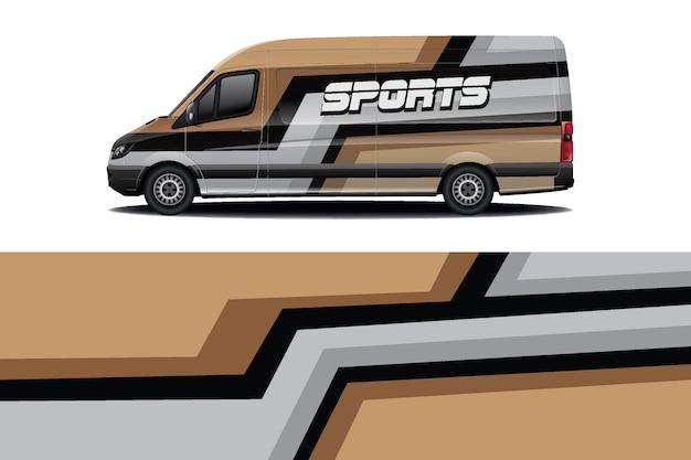 Дизайн наклейки на автомобиль фургон Premium векторы