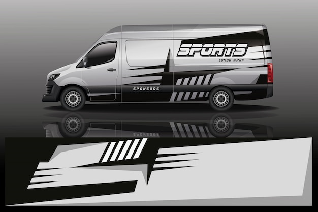Van car wrap design for company Premium Vector