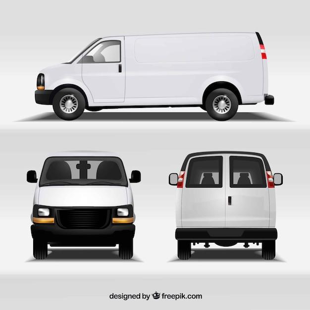 Van in different views Free Vector
