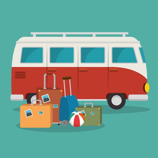 Van and suitcases scene Free Vector