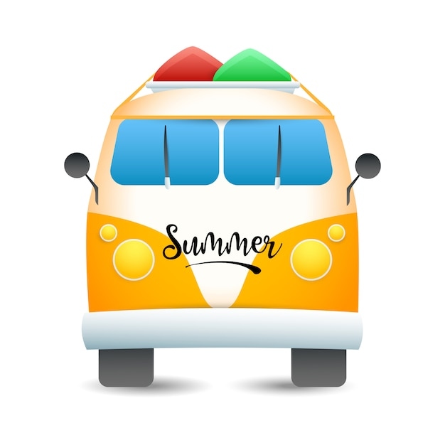 Van with surfboards on roof Free Vector