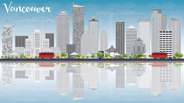 Vancouver skyline with grey buildings, blue sky and reflections. Premium Vector