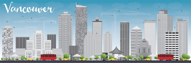 Vancouver skyline with grey buildings and blue sky. Premium Vector