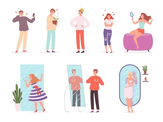 Premium Vector | Vanity people. narcissistic characters smiling emotions of  male and female vector person