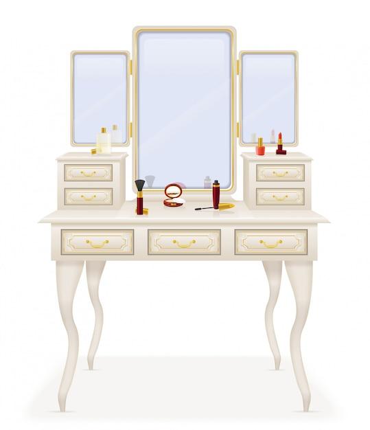 Vanity table old retro furniture vector illustration Premium Vector