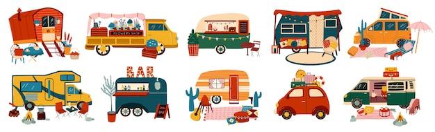 Фургоны и прицепы транспортные средства набор туристических караванов для кемперов, винтажные летние грузовики транспорт для туристических иллюстраций. Premium векторы