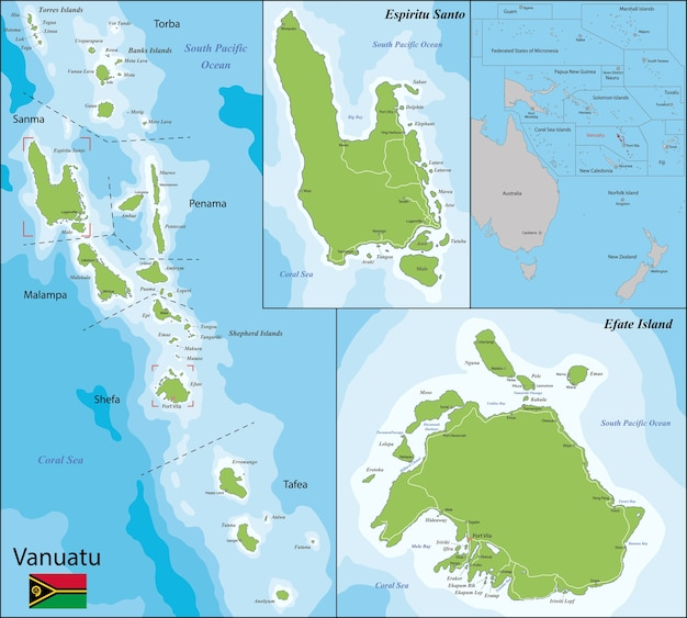 Vanuatu map Vector | Premium Download