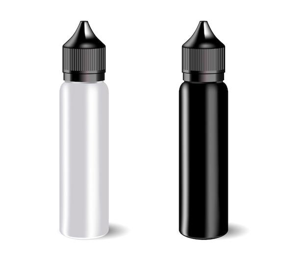 Vape e液体ボトルセットラベル付き。 Premiumベクター