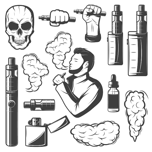 Vape elements collection Free Vector