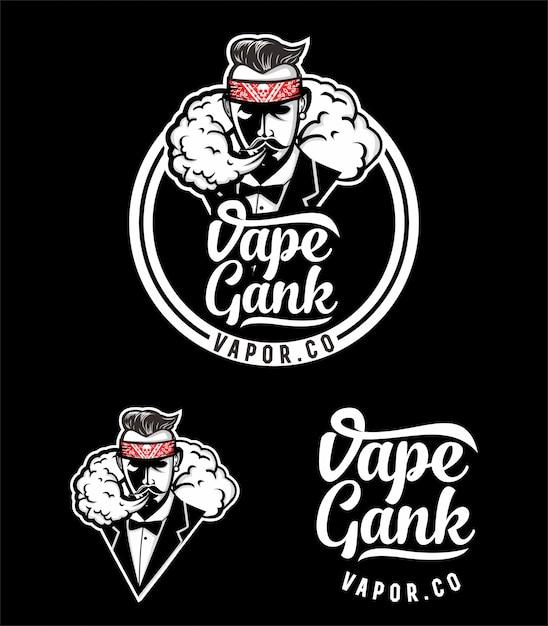 Дизайн логотипа vape gank Premium векторы
