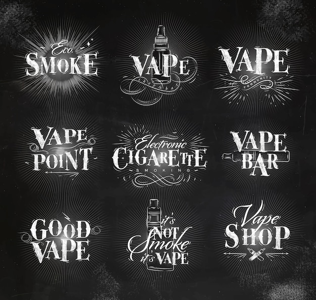 Vape labels in vintage lettering eco smoke, vape bar, its not smoke drawing with chalk Premium Vector