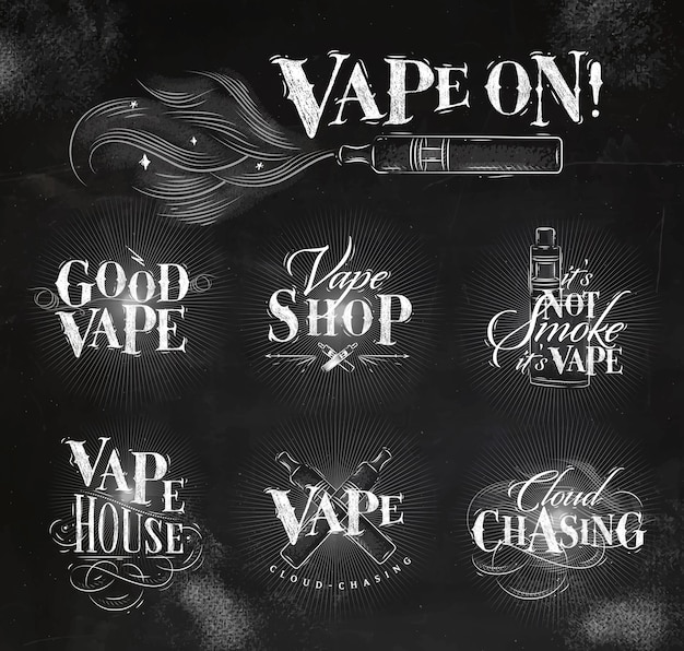 Vape labels in vintage style lettering good vape, cloud chasing Premium Vector